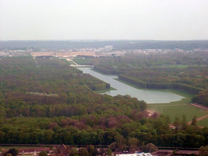 Aerial View, Chateau De Versailles, Ile De France, Paris, Palace, Royal Mansion, Garden, Forest, Fountain Show, Music and Lights Show