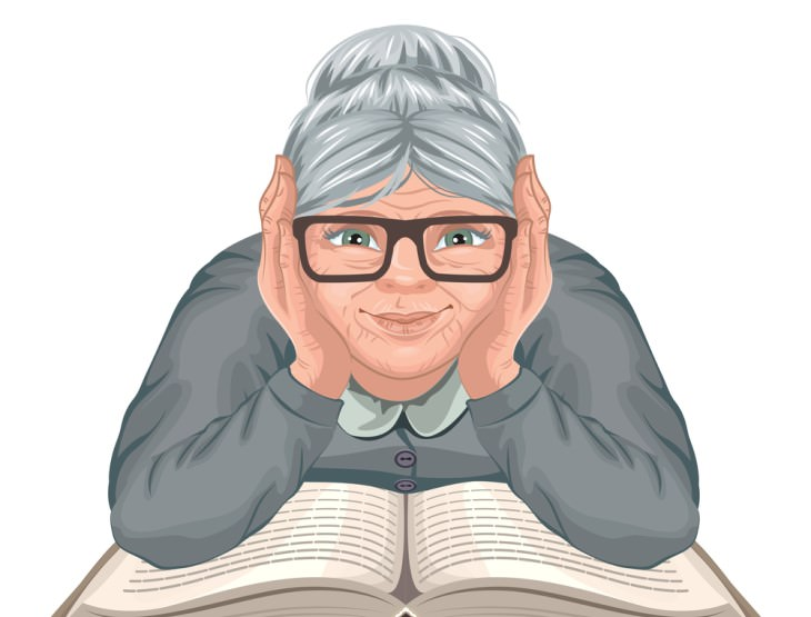 inspiratoinal story old woman over open book