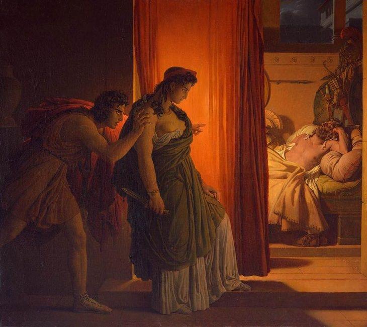 The Murder of Agamemnon, Clytemnestra, Aegisthus, Greek Mythology, Roman, Trojan War, Art, Oil Painting, Stories