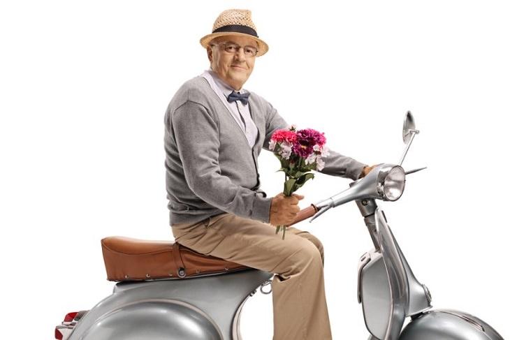 joke old man on moped