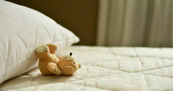home toxins teddy bear on mattress