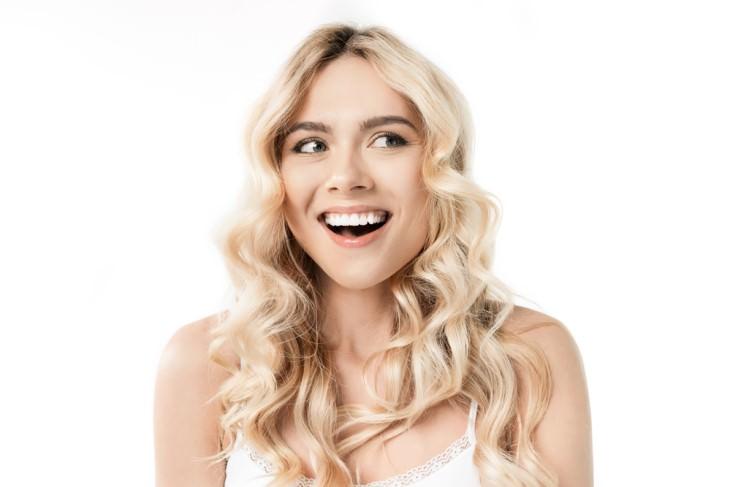 joke blond girl smiling