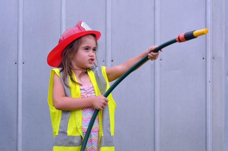 joke girl in firefighter costume