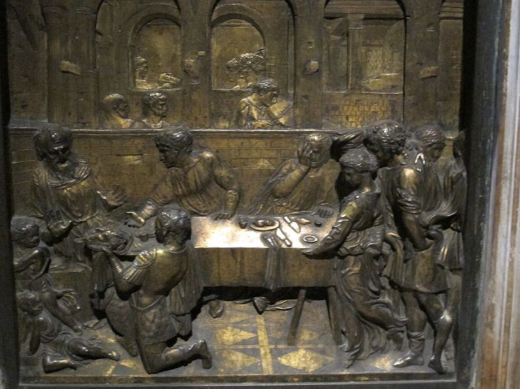 Beautiful masterpieces, sculptures, statues and works of art made by Renaissance sculptor Donatello,The Feast of Herod, now on the baptistry of the Siena Cathedral in Italy