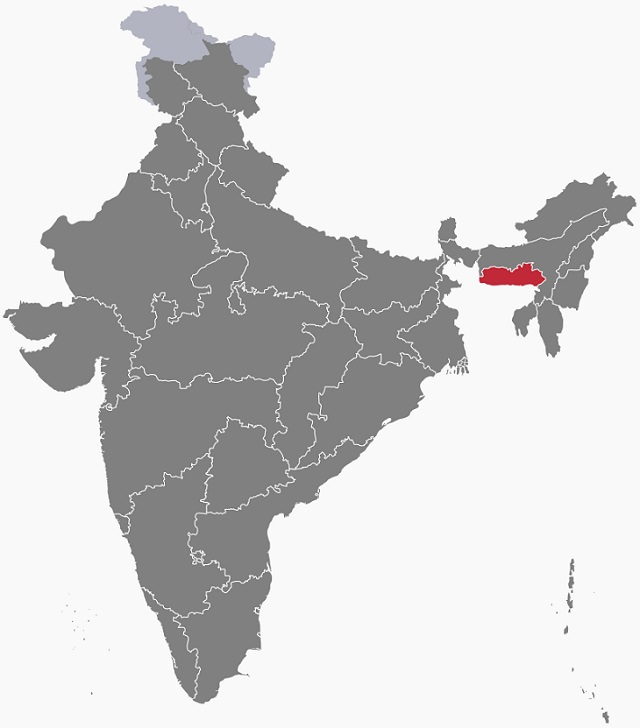 Majestic Beautiful Sights of the Northeast Indian State, Meghalaya, one of the seven sisters states, Map of India with Meghalaya marked in red