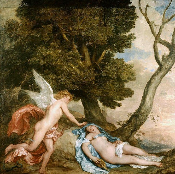 Επικές απίστευτες ιστορίες αγάπης και ρομαντικές ιστορίες από την ελληνική μυθολογία, ο Έρωτας (Έρως) βρίσκει την Ψυχή να κοιμάται