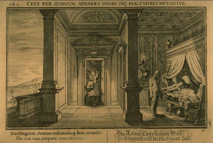 Επικές απίστευτες ιστορίες αγάπης και ρομαντικές ιστορίες από την ελληνική μυθολογία, ο Μορφέας φαίνεται στην Αλκυόνη ως εμφάνιση του Ceyx