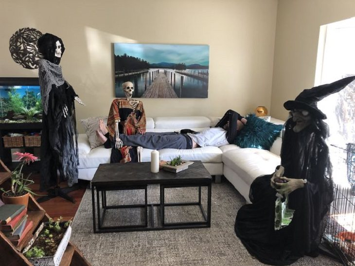 Funny and heartwarming pictures of birthday celebrations during the COVID-19 pandemic quarantine and lockdown, birthday party with halloween decoration guests
