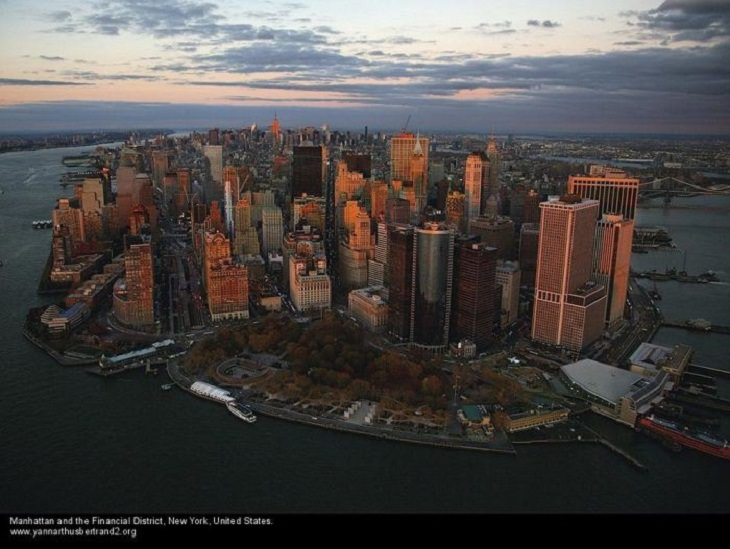 """Aerial photos of New York City in """"New York City From the Air"""" series by Yann Arthus-Bertrand, Manhattan and the Financial District"""