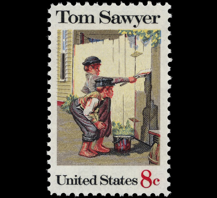 Notable Works of Art by famous painters and artists found on U.S Postal Stamps, Tom Sawyer, by Norman Rockwell