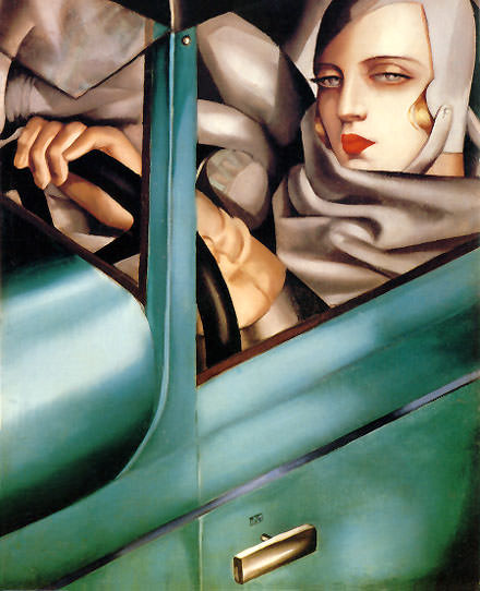 Artist profile of Tamara de Lempicka,  oil on canvas, autoportrait, 1929