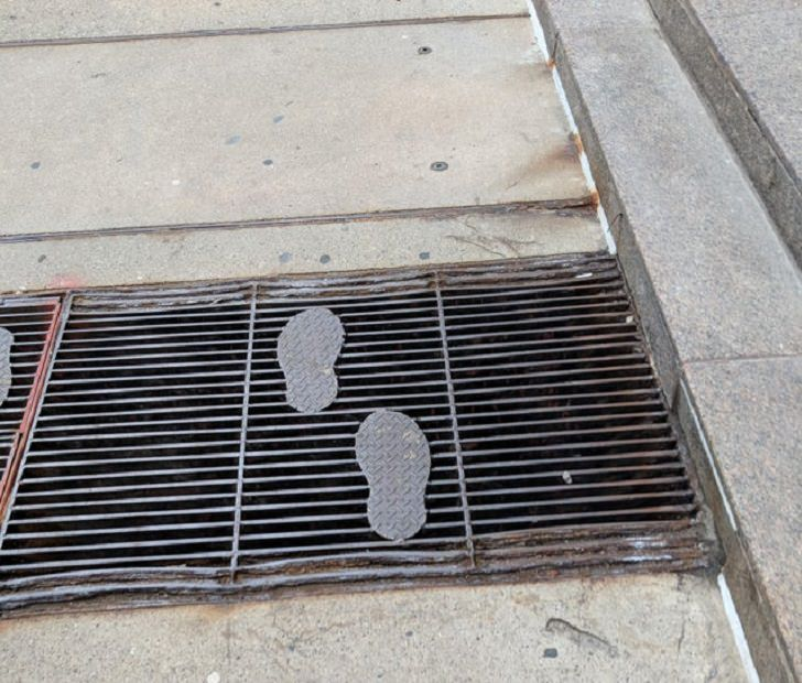 Innovative and unique creative designs and concepts from around the world, Steel footprints that let you walk over grates easily