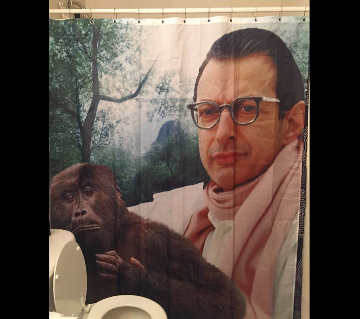 Clever and funny dads that win at parenting, Shower curtain of Jeff Goldblum holding a small chimp
