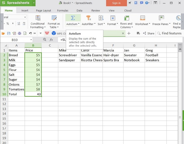 Flexible household uses for Microsoft Excel Spreadsheets, Grocery shopping list on Excel with prices showing Autosum button