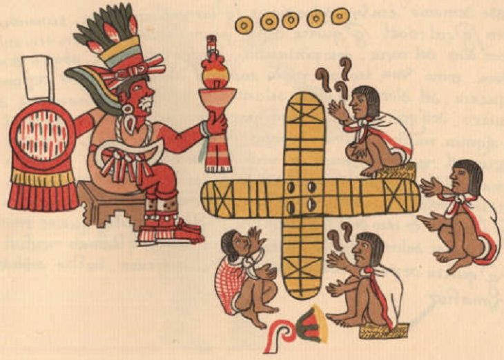 Oldest games played by ancient civilizations from around the world, Illustration of Mezotuma watching his nobles play Patolli