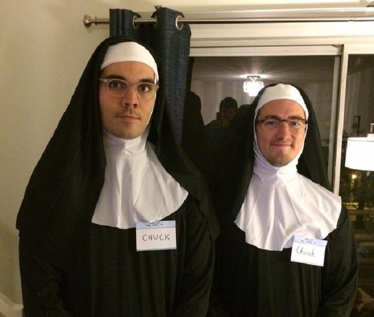 "Hilarious and clever Halloween costumes based on puns and word play, Two men dressed as nuns with nametags that say ""Chuck"""