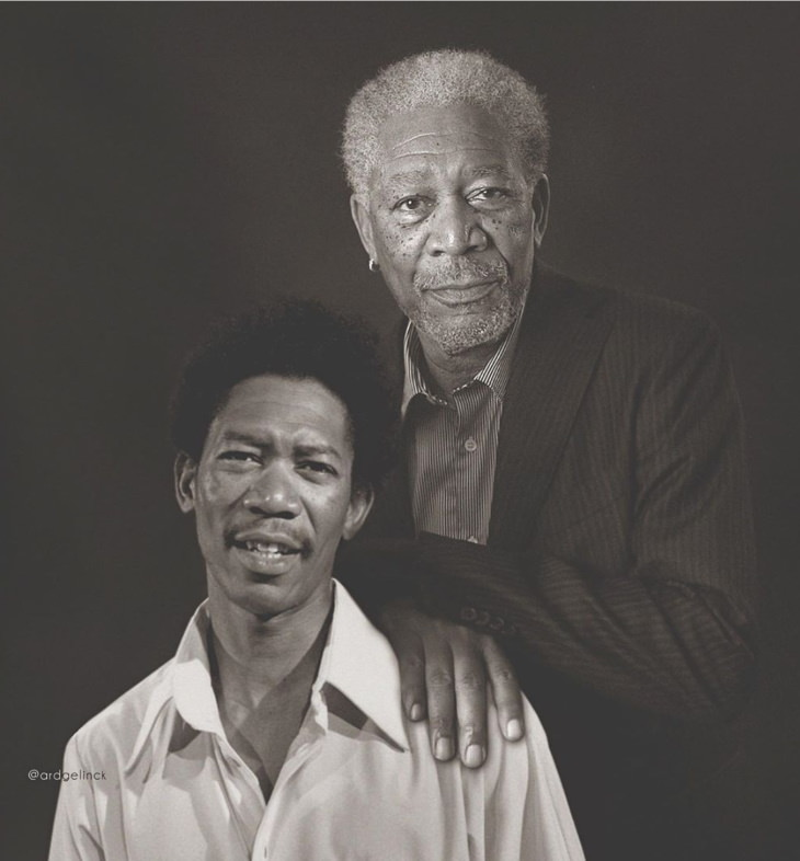 Celebrities Side by Side With Their Younger Selves, Morgan Freeman