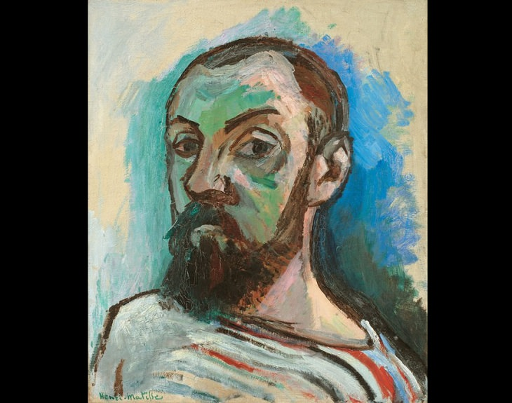 Beautiful and famous paintings by 19th and 20th century artist Henri Matisse, Self-Portrait in a Striped T-shirt, 1906