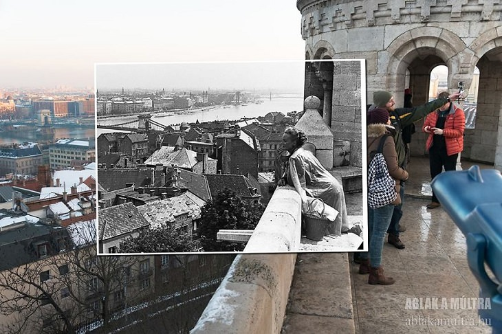 "Photo Series titled ""Ablak a múltra"", or ""Window to the Past"" by Hungarian Photographer Zoltán Kerényi, displaying from archived photographs of 20th century Budapest in the same location in the 21st century, tourists viewing the city from Fisherman's Bastion, 1962 - 2016"