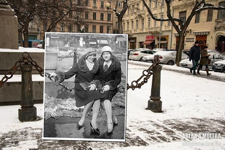 "Photo Series titled ""Ablak a múltra"", or ""Window to the Past"" by Hungarian Photographer Zoltán Kerényi, displaying from archived photographs of 20th century Budapest in the same location in the 21st century, two women sit on a chain in Reed Square, 1930 - 2016"