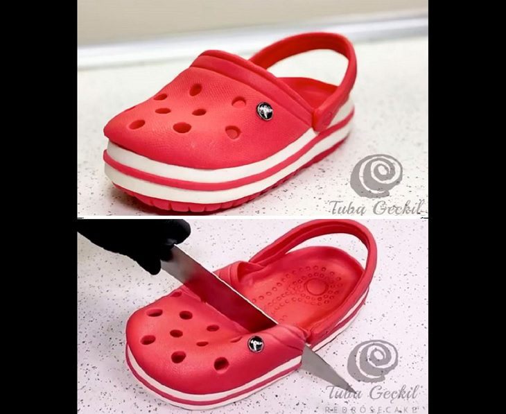 Realistic and Delicious cake art by Turkish chef Tuba Gelick, cake shaped like a croc slipper / sandal
