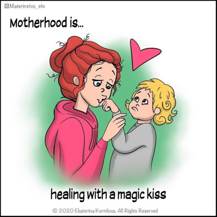 Cute Illustrations and comics on motherhood by Katya, Illustration of mother kissing child's injury