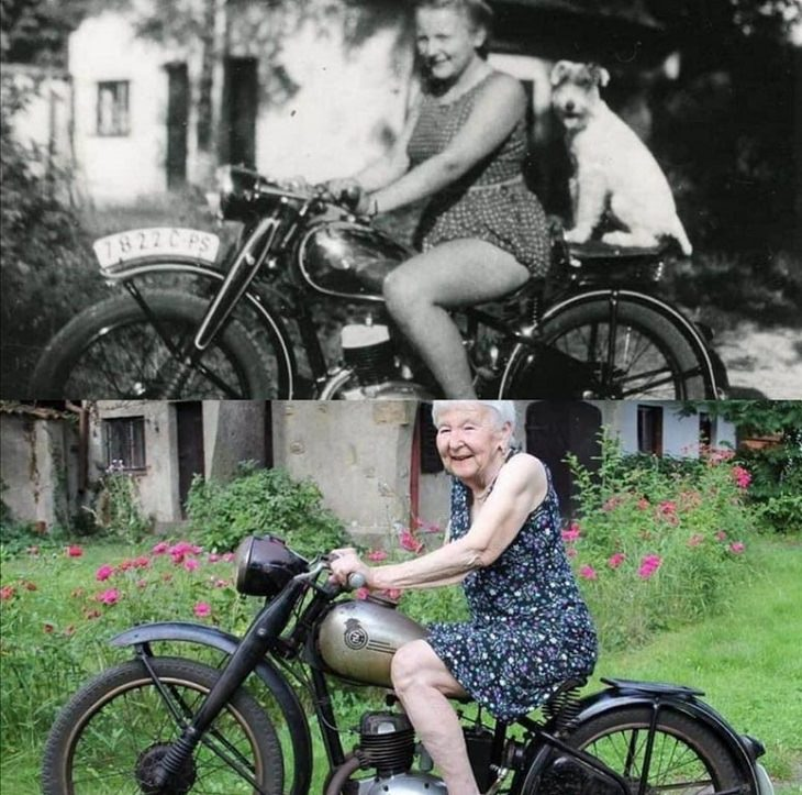 Amazing photographs that show differences, shapes and sizes through comparison, Girl sitting on the same motorcycle 71 years apart