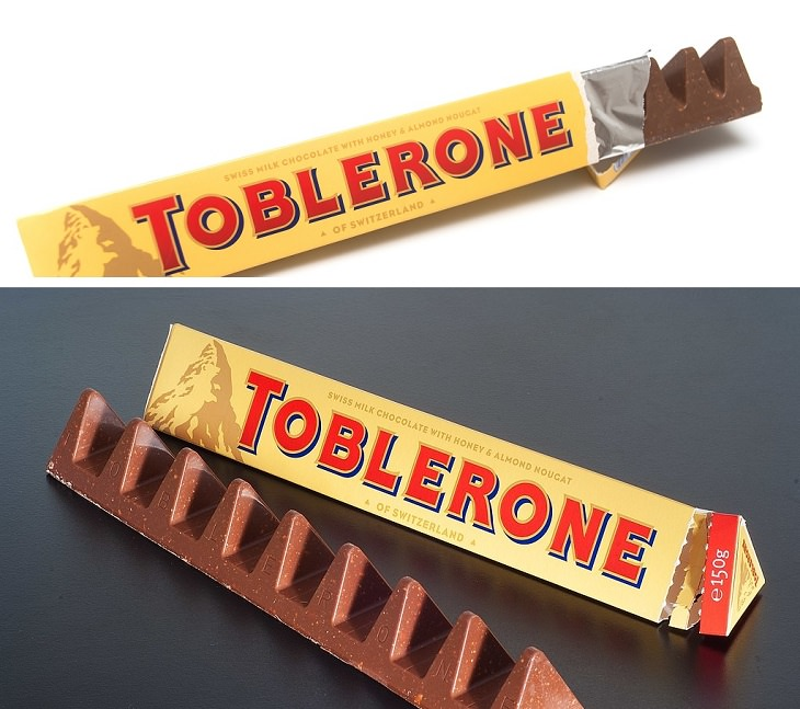 Downsizing and labelling marketing ploys done to trick Customers by big companies, Old and new toblerone bar
