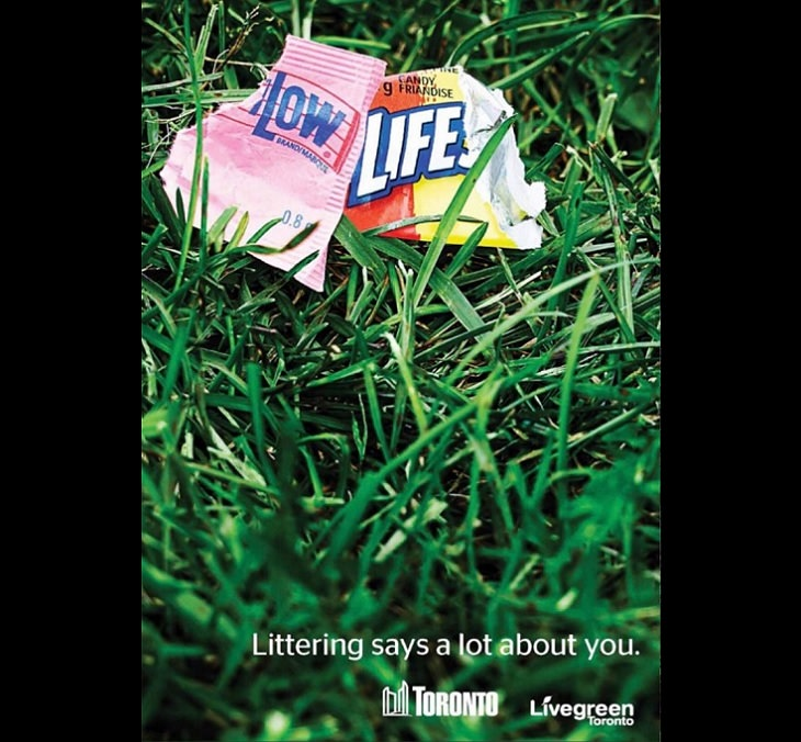 Ingenious and creatively designed advertisements (ads), Toronto, Littering
