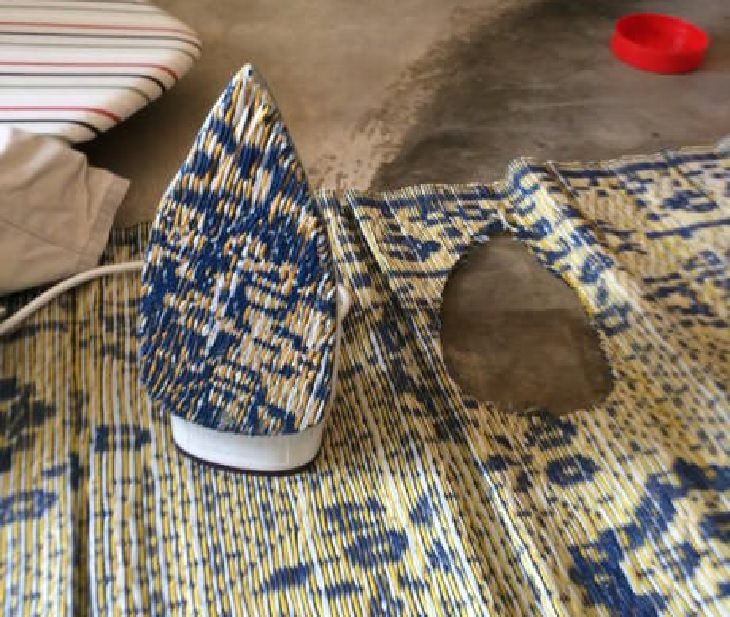 Hilarious ironing fails and mistakes made with hot clothes iron, Iron with piece of bamboo carpet stuck to its flat end