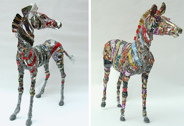 Beautiful animal sculptures made out of recycled scrap metal by Barbara Franc, Huntley and Palmer the Zebras