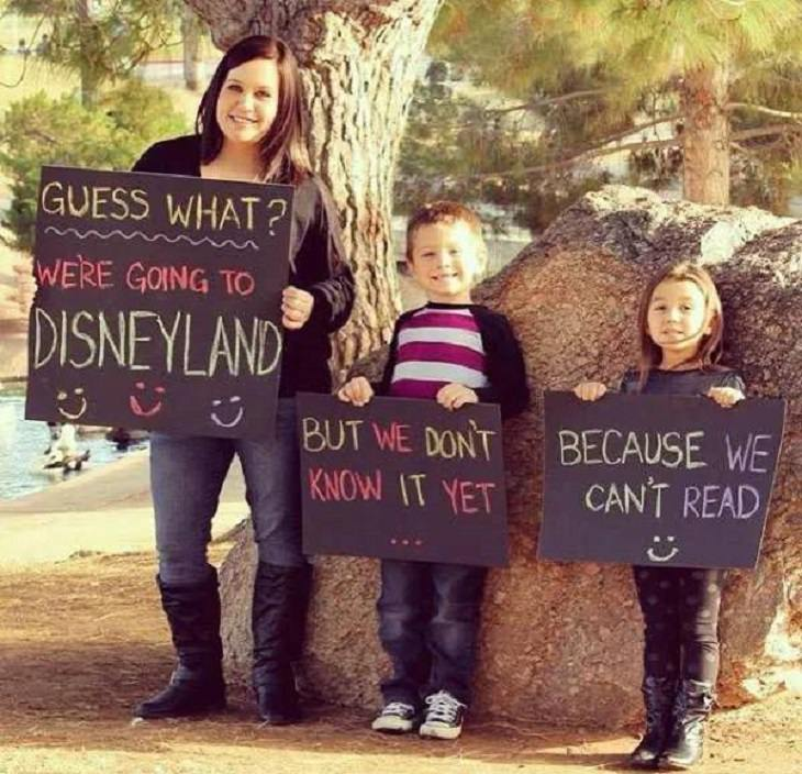 Photos of feel good stories that will make you smile, Mom and two kids holding signs about going to Disneyland