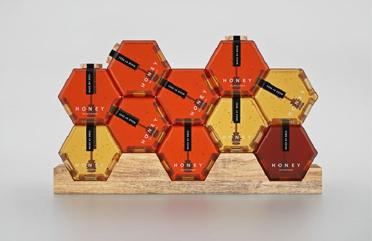 Products with unique and creative packaging, Honey made by bees