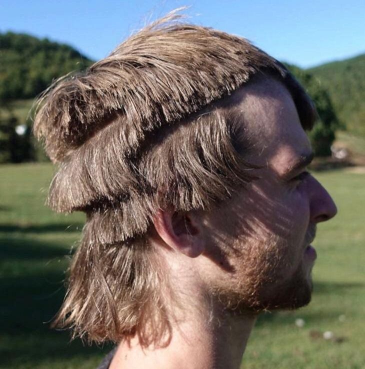 Terrible and bad haircuts that are funny, Badly cut uneven layers in man's hair