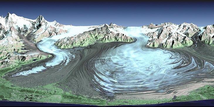 Different types of beautiful glaciers found all across Alaska, U.S.A, Malaspina Glacier, a Piedmont glacier in Southern Alaska