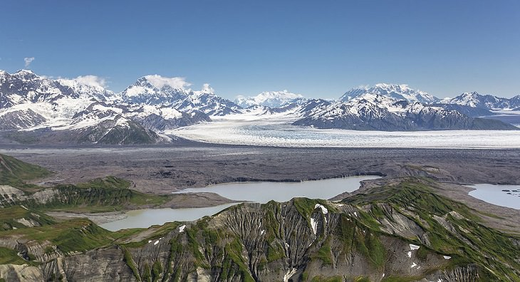 Different types of beautiful glaciers found all across Alaska, U.S.A, Agassiz Glacier, a valley glacier found in the Saint Elias Mountains of southern Alaska