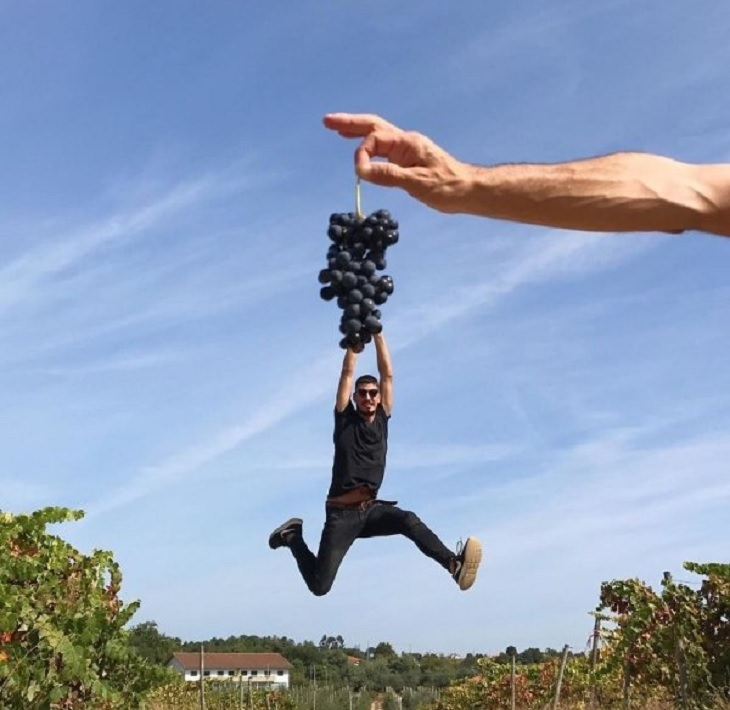 Incríveis ilusões de ótica criadas pelo artista e fotógrafo de Portugal Tiago Silva, o homem parece estar pendurado em uma videira de uvas