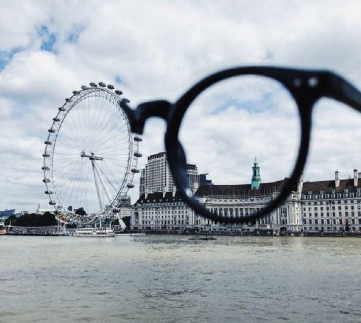 Ilusões ópticas incríveis criadas pelo artista e fotógrafo de Portugal Tiago Silva, meio par de óculos com a metade que faltava como o London Eye