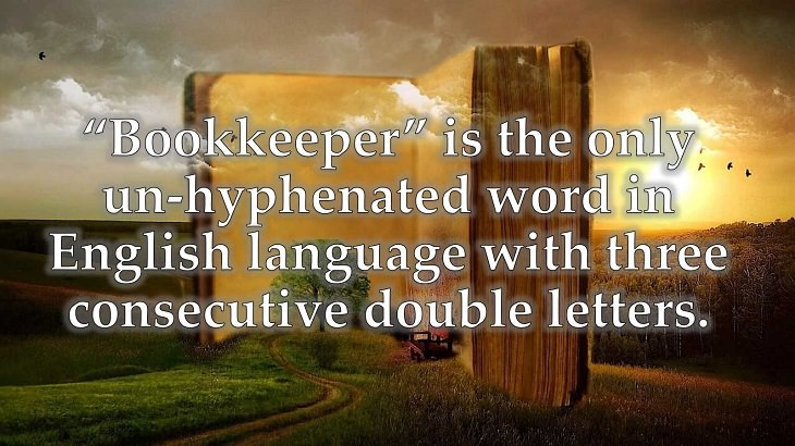 """Interesting and fascinating facts about the history and development of the English Language, """"Bookkeeper"""" is the only un-hyphenated word in English language with three consecutive double letters."""