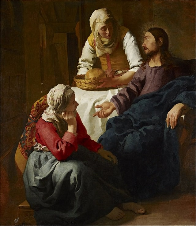 Beautiful lesser known paintings by golden age Dutch artist Johannes Vermeer, Christ in the House of Martha and Mary, now in the National Gallery of Scotland, Edinburgh