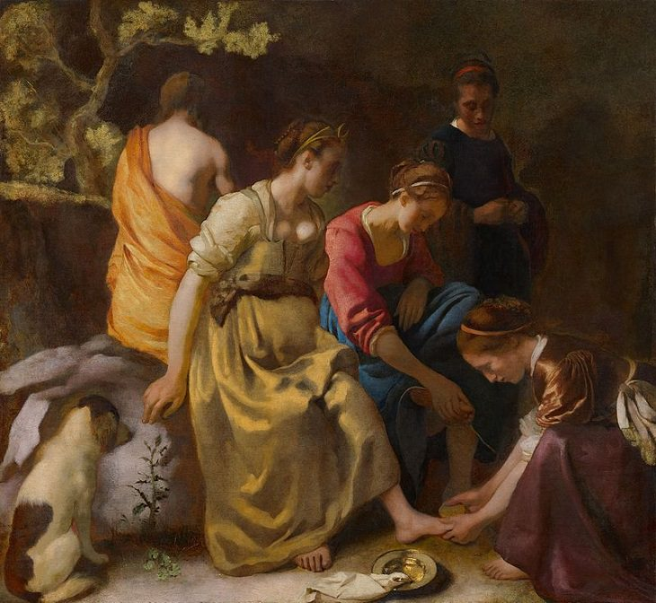 Beautiful lesser known paintings by golden age Dutch artist Johannes Vermeer, Diana and Her Companions, now in the Mauritshuis, The Hague, Netherlands