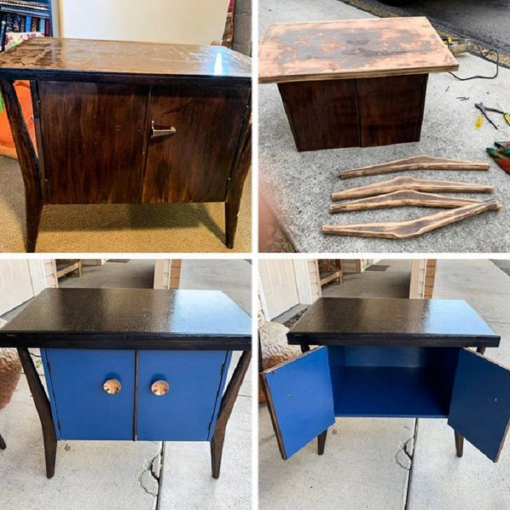 Old, rusted or worn out household items and furniture that were refurbished, received makeovers, or were made to look brand new, thrift shop table