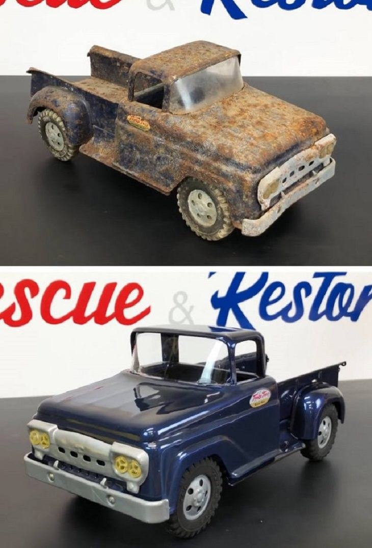 Old, rusted or worn out household items and furniture that were refurbished, received makeovers, or were made to look brand new, car model