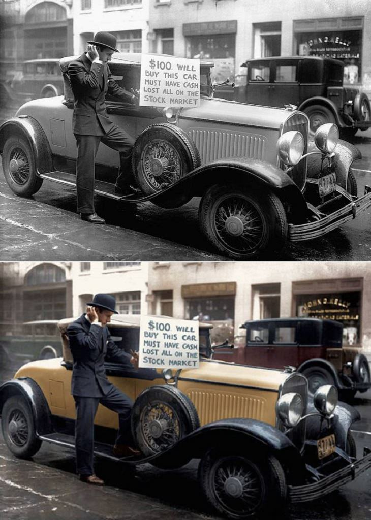 Historic moments in black and white photographs colorized, Walter Thornton sells his car on Black Tuesday, the last day of the stock market crash on October 29th, 1929
