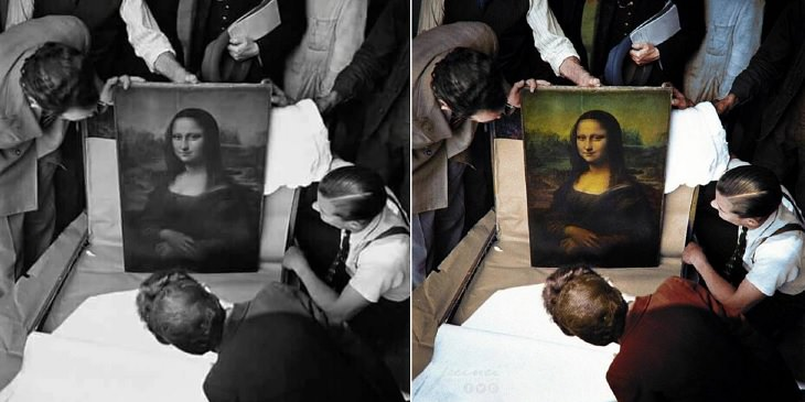 Historic moments in black and white photographs colorized, Unpacking the Mona Lisa at the completion of World War II in 1945