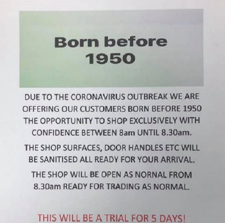 Heroes, positive moments and acts of kindness found all over the world in the midst of the Coronavirus lockdowns, quarantines and self-isolation,This shop in Cornwall, U.K, was one of the first to offer seniors a separate early morning shopping session