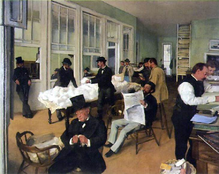 Beautiful paintings and masterpieces by French Impressionist and Realist Artist from Paris, Edgar Degas, A Cotton Office in New Orleans, 1873