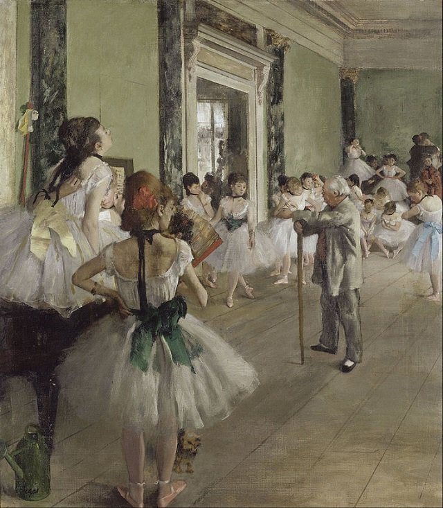 Beautiful paintings and masterpieces by French Impressionist and Realist Artist from Paris, Edgar Degas, The Dance Class (La Classe de Danse), 1873–1876