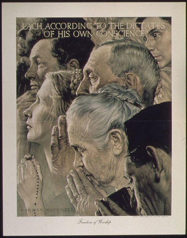 Lesser known paintings and illustrations by American artist Norman Rockwell, Freedom of Worship, 1941 to 1945