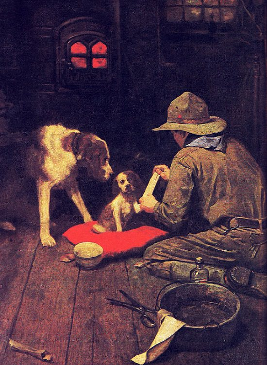 Lesser known paintings and illustrations by American artist Norman Rockwell, A Red Cross Man in the Making, 1925 Boy Scouts of America Calendar